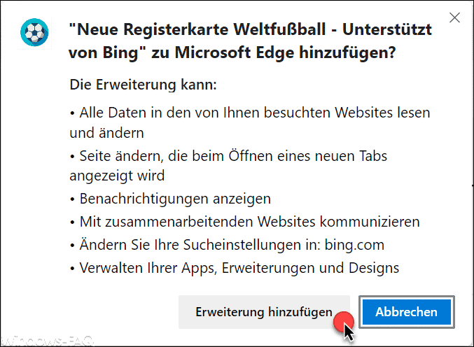 Neue Registerkarte Welfußball