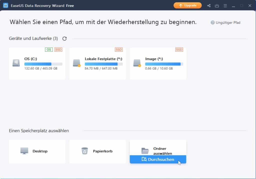 Ordner gezielt nach gelöschten Dateien durchsuchen