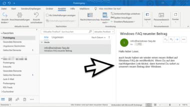 Outlook Lesebereich deaktivieren bzw. rechts oder unten im Outlook anzeigen lassen