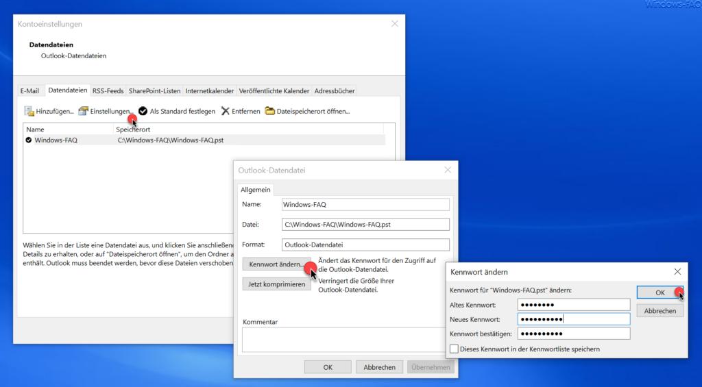 Outlook PST Datei Kennwort