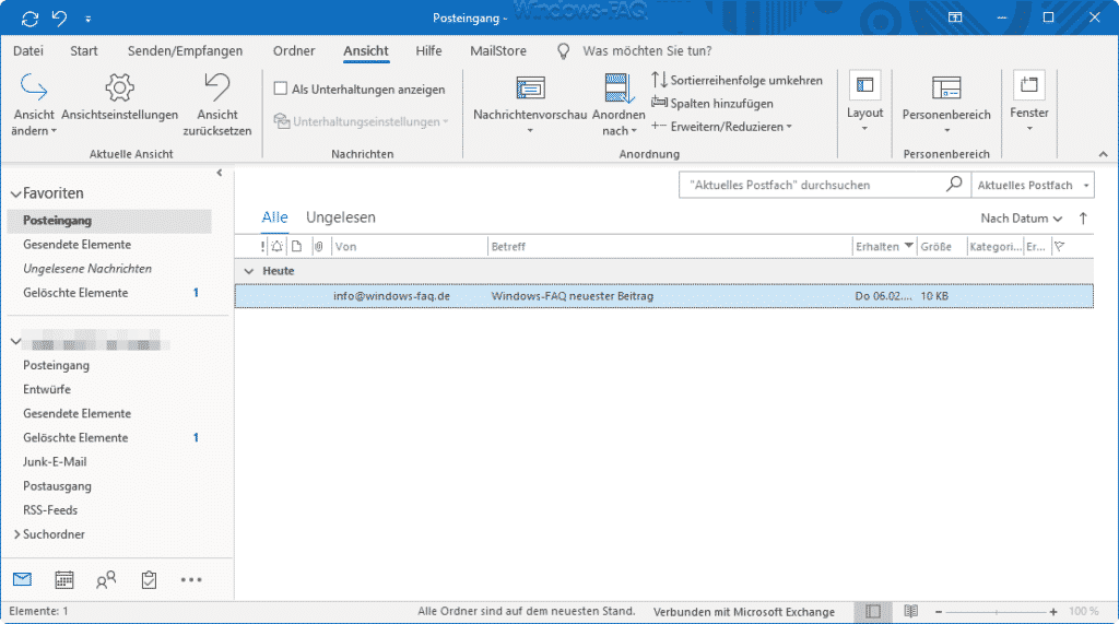 Outlook ohne Lesebereich