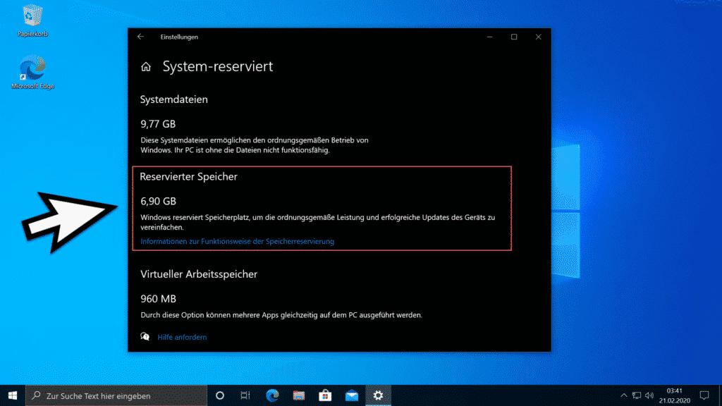 Reservierter Speicher Windows 10