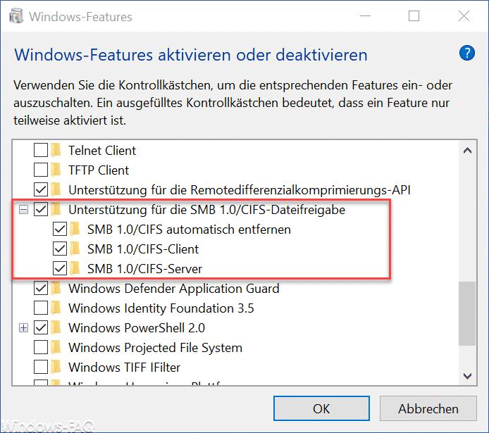 Unterstützung für die SMB 1.0 CIFS Dateifreigabe