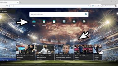 Weltfussball Tab Erweiterung (Addon) von Microsoft für den Edge Chromium