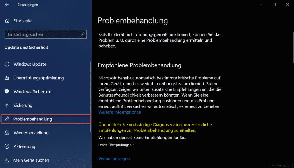 Windows 10 Problembehandlung