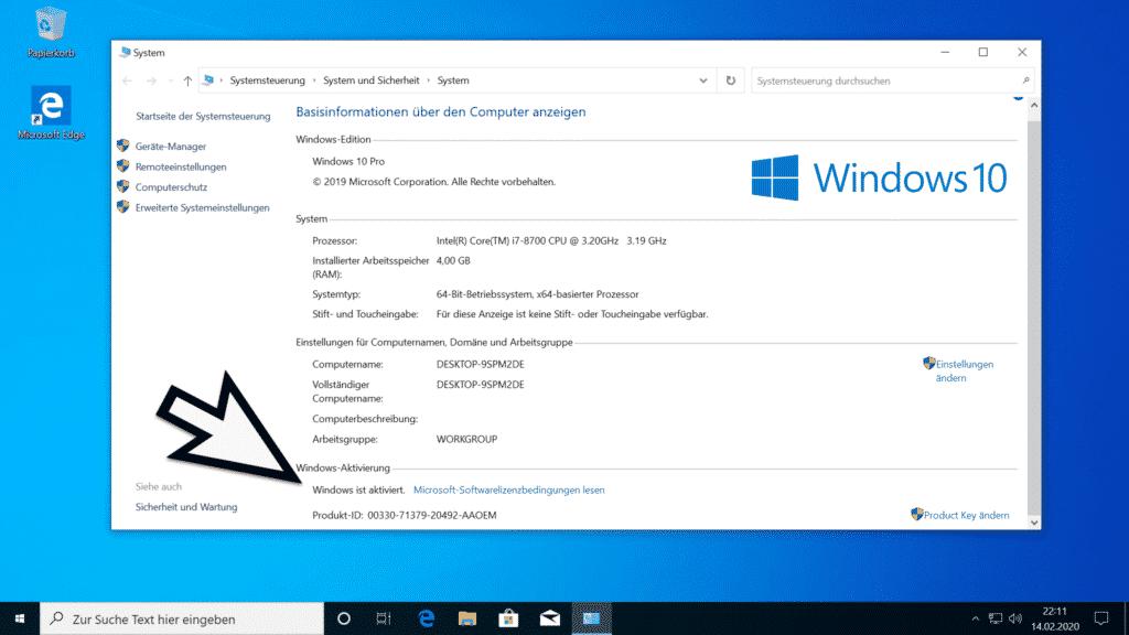 Windows ist aktiviert