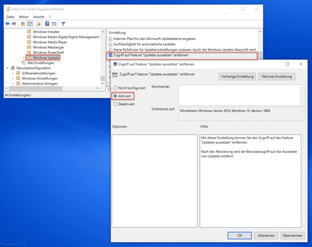 Zugriff auf Feature Updates aussetzen entfernen