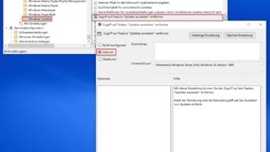 """Funktion """"Windows Updates aussetzen"""" per Gruppenrichtlinie verhindern"""