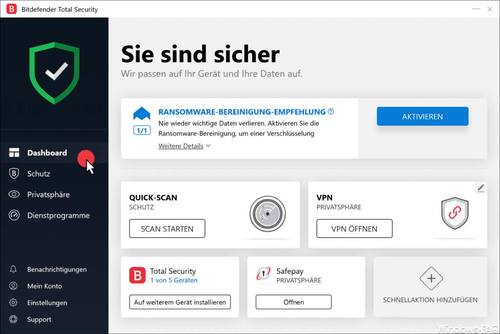 BitDefender Dashboard