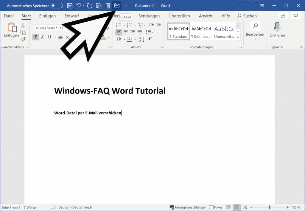 E-Mail Symbol im Word Schnellzugriff
