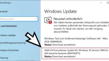 Download Update KB4540673 für Windows 10 Version 1903/1909 (18362.719 & 18363.719)