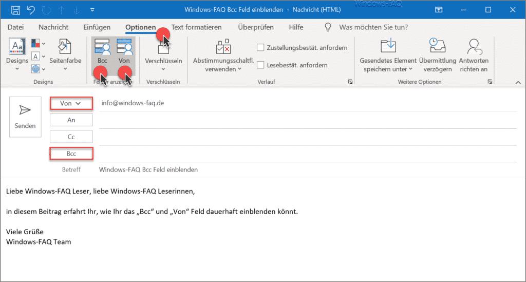 Outlook Bcc einblenden