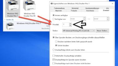Priorisierung von Druckaufträgen unter Windows