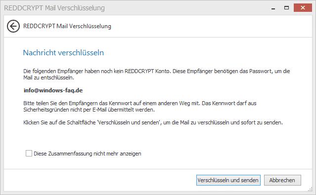 REDDCRYPT Empfänger Konto