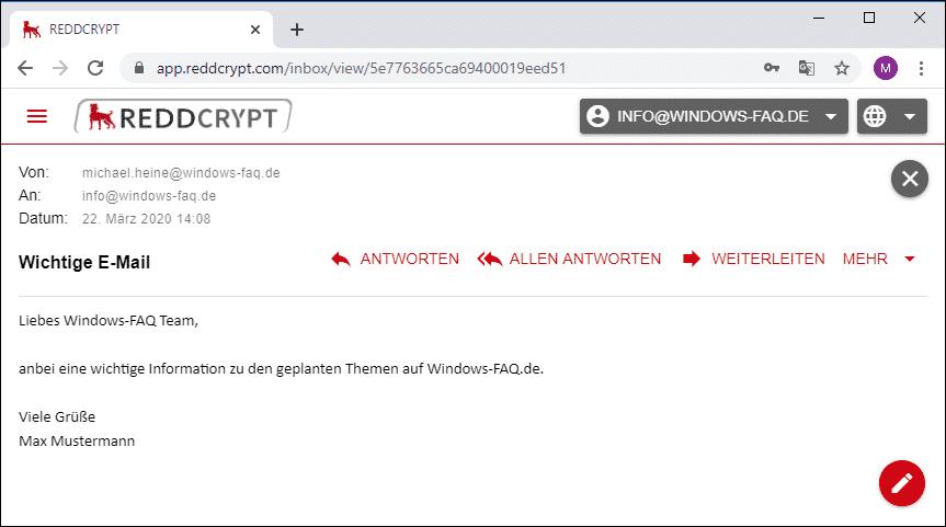 REDDCRYPT entschlüsselte E-Mail