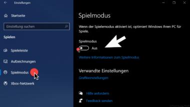 Spielmodus deaktivieren bei Windows 10