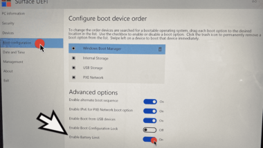 "Akku Lebenszeit mit Surface Option ""Battery Limit Mode"" erhöhen"