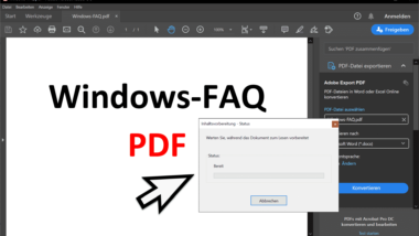 Warten Sie bis das Dokument zum Lesen vorbereitet wird… – Meldung im Adobe Acrobat Reader