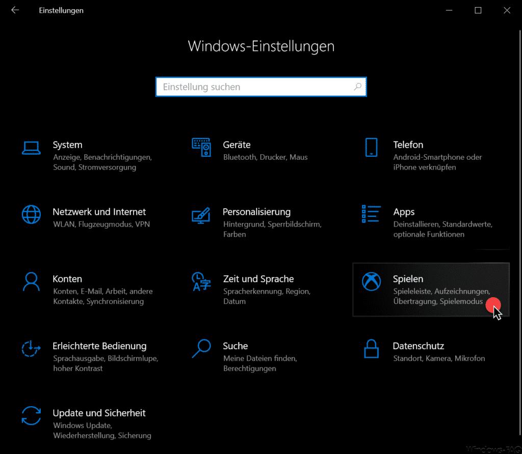 Windows Einstellungen Spielen