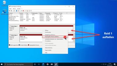 Raid 1 aufteilen in einzelne Datenträger unter Windows