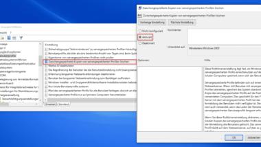 Zwischengespeicherte Kopien von servergespeicherten Profilen löschen