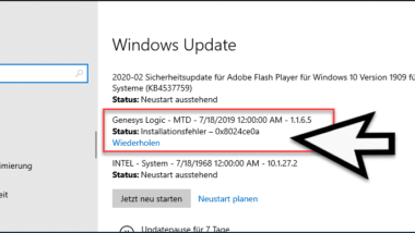 0x8024ce0a Updatefehler bei Windows
