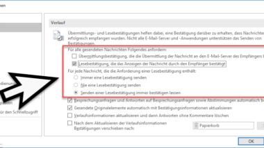 Lesebestätigung bei Outlook anfordern