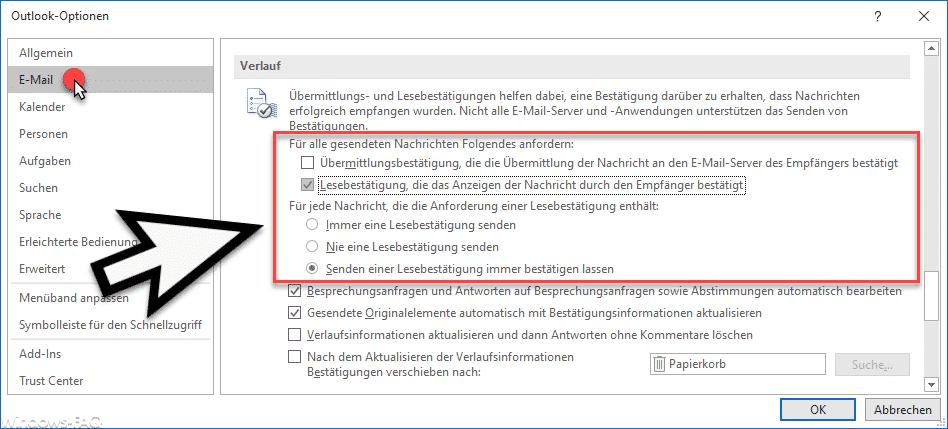 Outlook Lesebestätigung konfigurieren