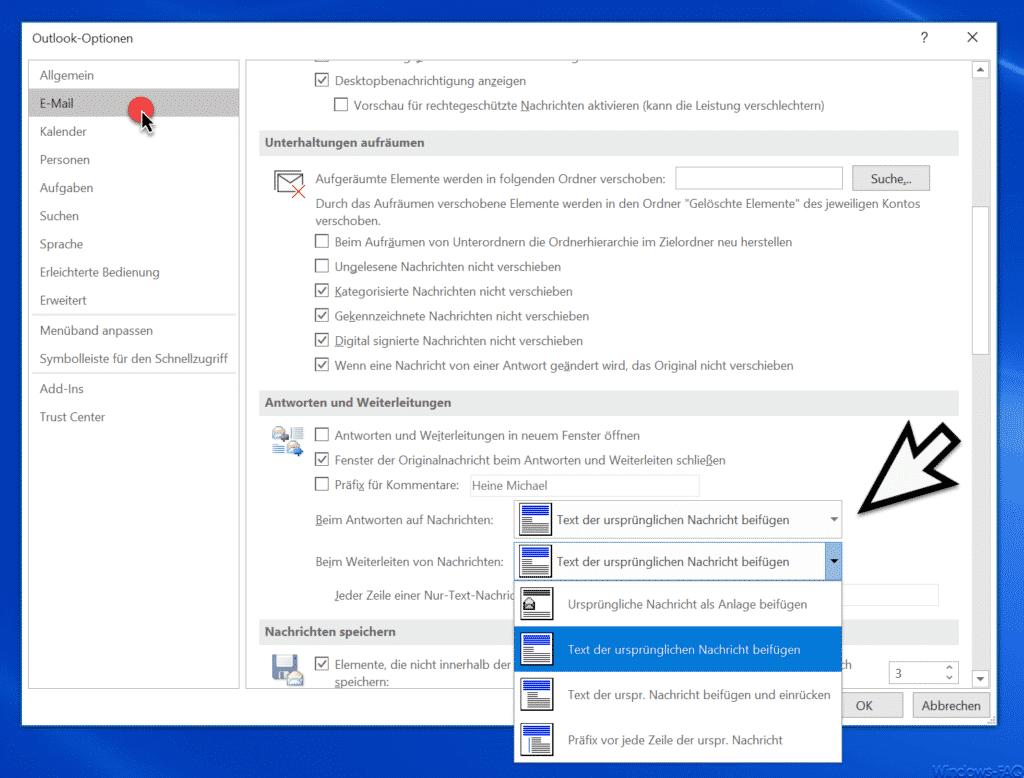 Outlook Text der ursprünglichen Nachricht beifügen