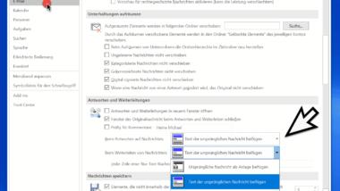 Im Outlook den Text der ursprünglichen Nachricht beifügen, einrücken oder als Anlage anhängen