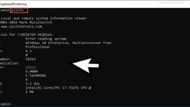 PSInfo – Microsoft Sysinternal Tool zum Abfragen von Windows Systeminformationen