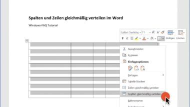 Tabellen Zeilen und Spalten gleichmäßig in der Breite und Höhe anpassen im Word