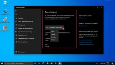 Windows Defender Ausschlüsse für Dateien, Dateitypen, Ordner und Windows Prozesse einrichten