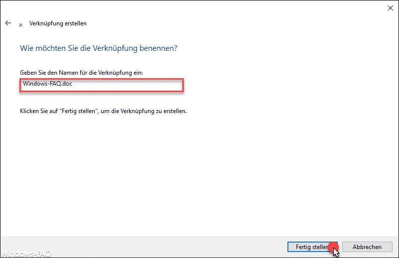 Datei Verknüpfung benennen