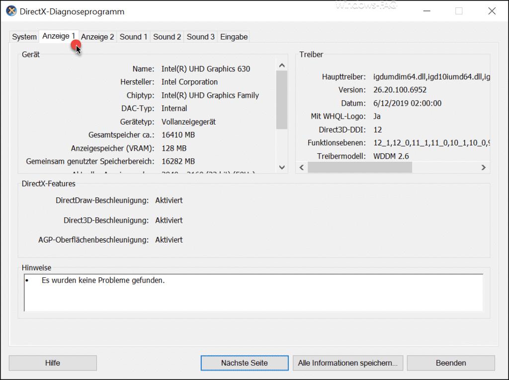 DirectX-Diagnoseprogramm Anzeige