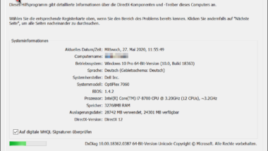 DxDiag – Das DirectX Diagnoseprogramm unter Windows