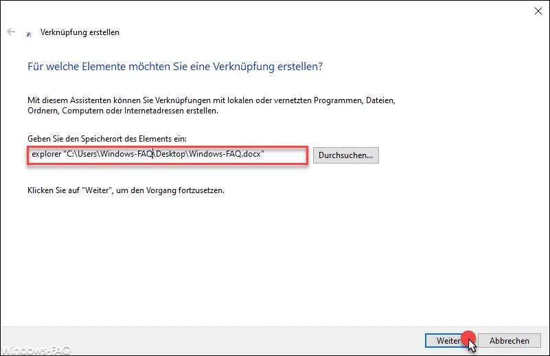 Explorer und Dateipfad angeben