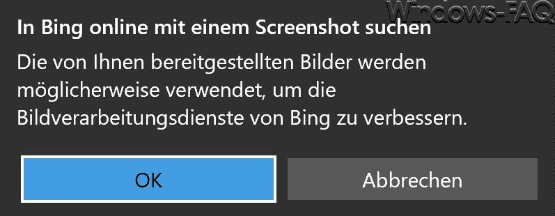 In Bing online mit einem Screenshot suchen