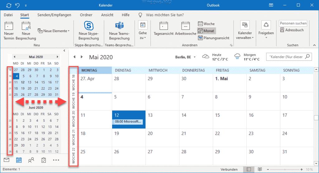 Outlook Kalender mit Wochennummern