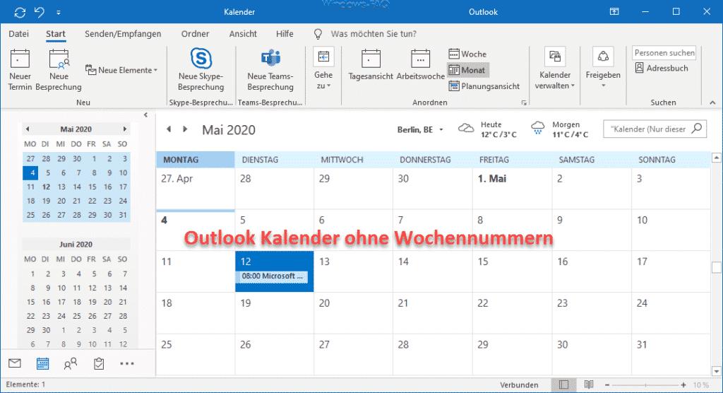 Outlook Kalender ohne Wochennummern