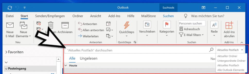Outlook durchsuchen