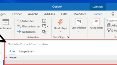 Suchoptionen bei Microsoft Outlook festlegen