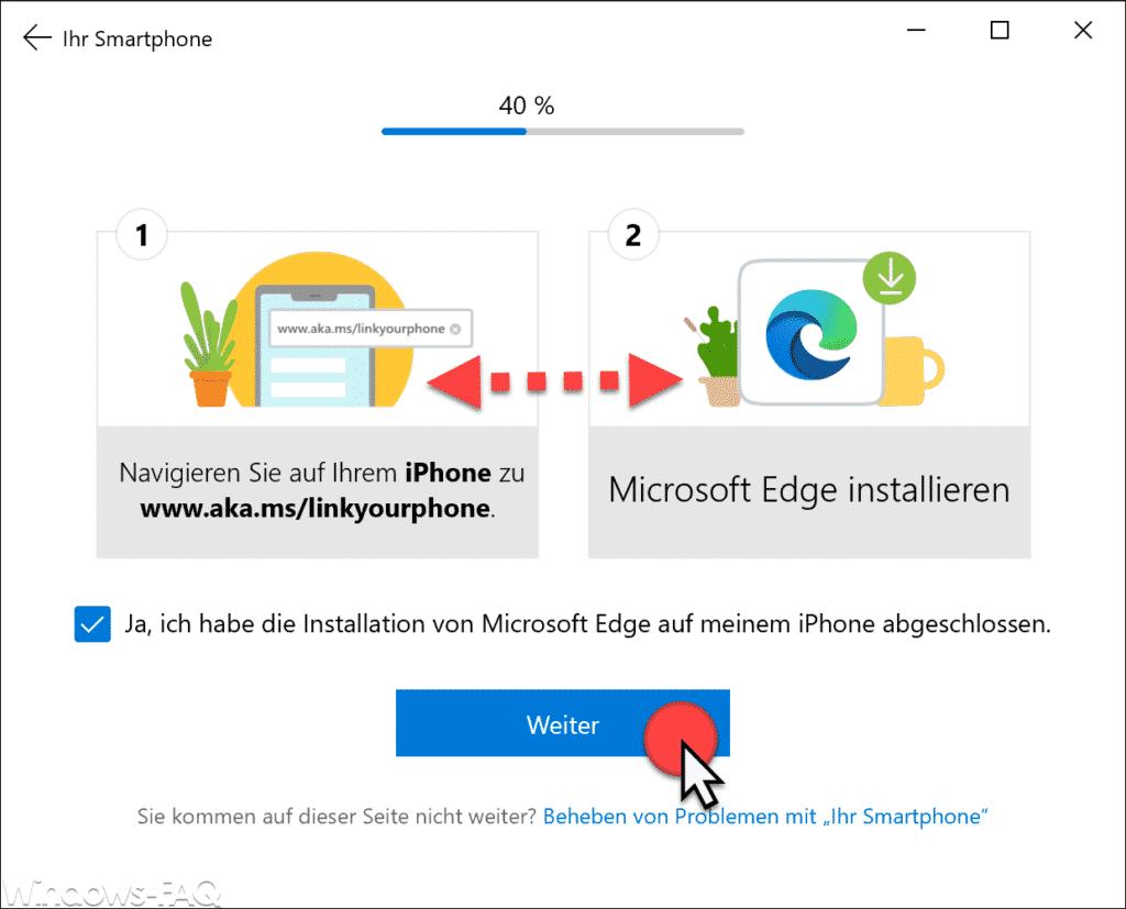 Smartphone mit Windows 10 koppeln und Edge installieren