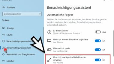 Windows Benachrichtigungen deaktivieren wenn Apps im Vollbildmodus laufen