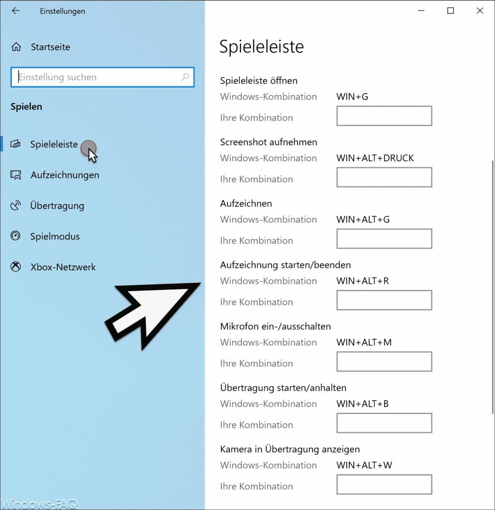 Windows Spieleleiste Tastenkombinationen