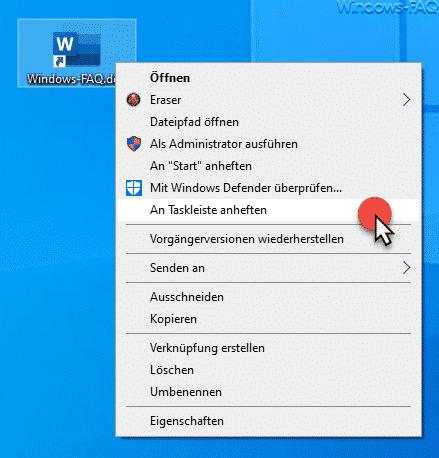 Word Dokument an Taskleiste anheften