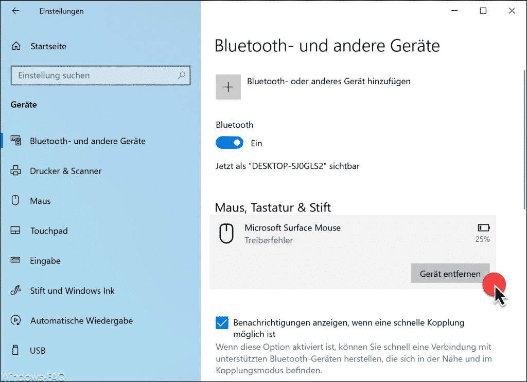 Bluetooth Gerät entfernen