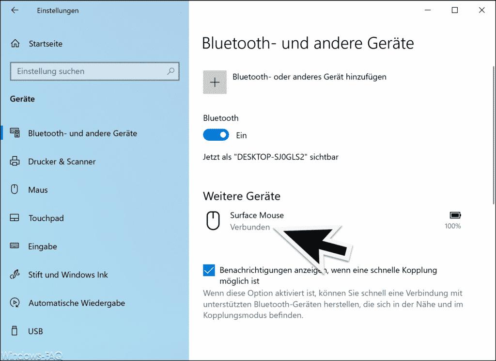 Bluetooth Gerät verbunden