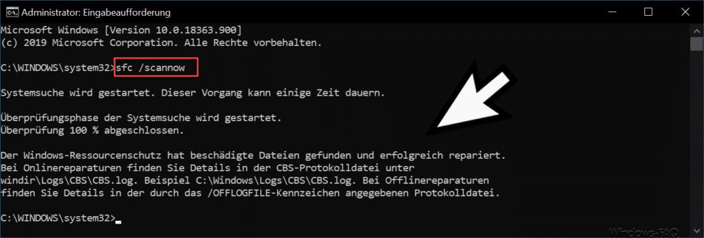Der Windows-Ressourcenschutz hat beschädigte Dateien gefunden...