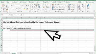 Gesamte Spalte oder Zeile im Excel markieren per Tastenkombination